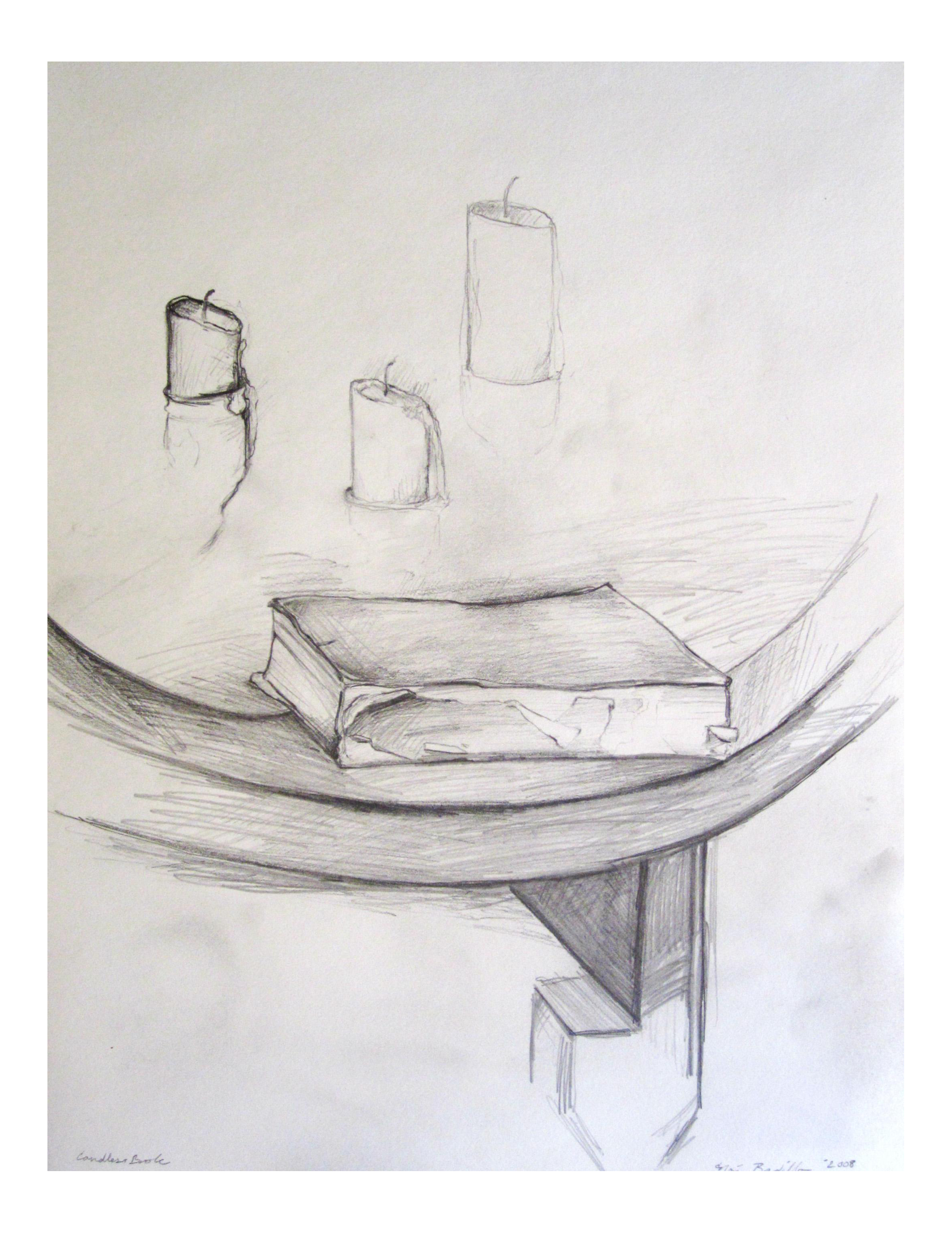 Drawing candle realistic. Book burned out candles
