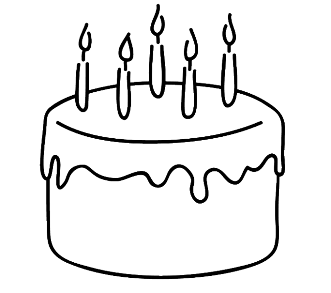 Drawing cake pen. Simple of birthday happy
