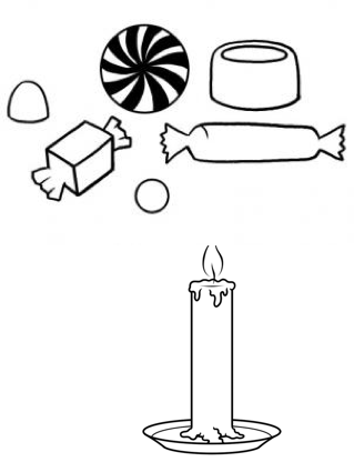 Drawing candle small. The ancient story of