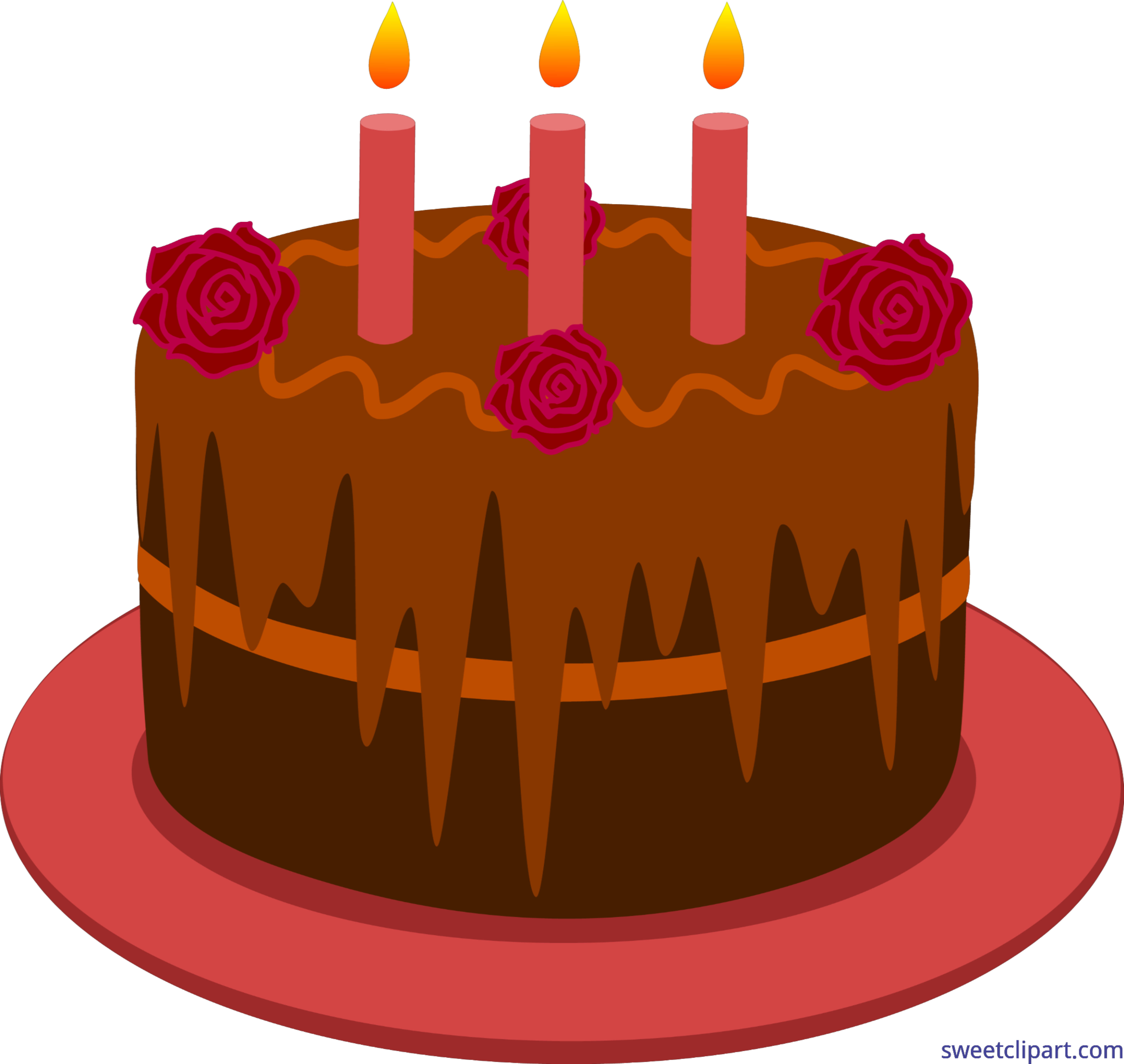 Drawing candles cake. Chocolate birthday clip art