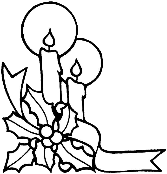 Drawing candles coloring page. Christmas pages purple kitty