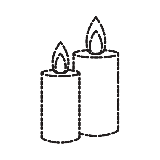 Drawing candles pen. Decorative isolated icons by