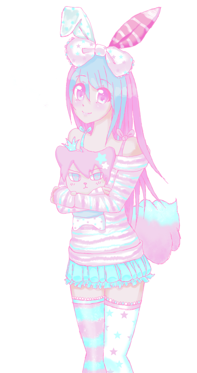 Drawing candy anime girl. Sweet little fluffy cotton