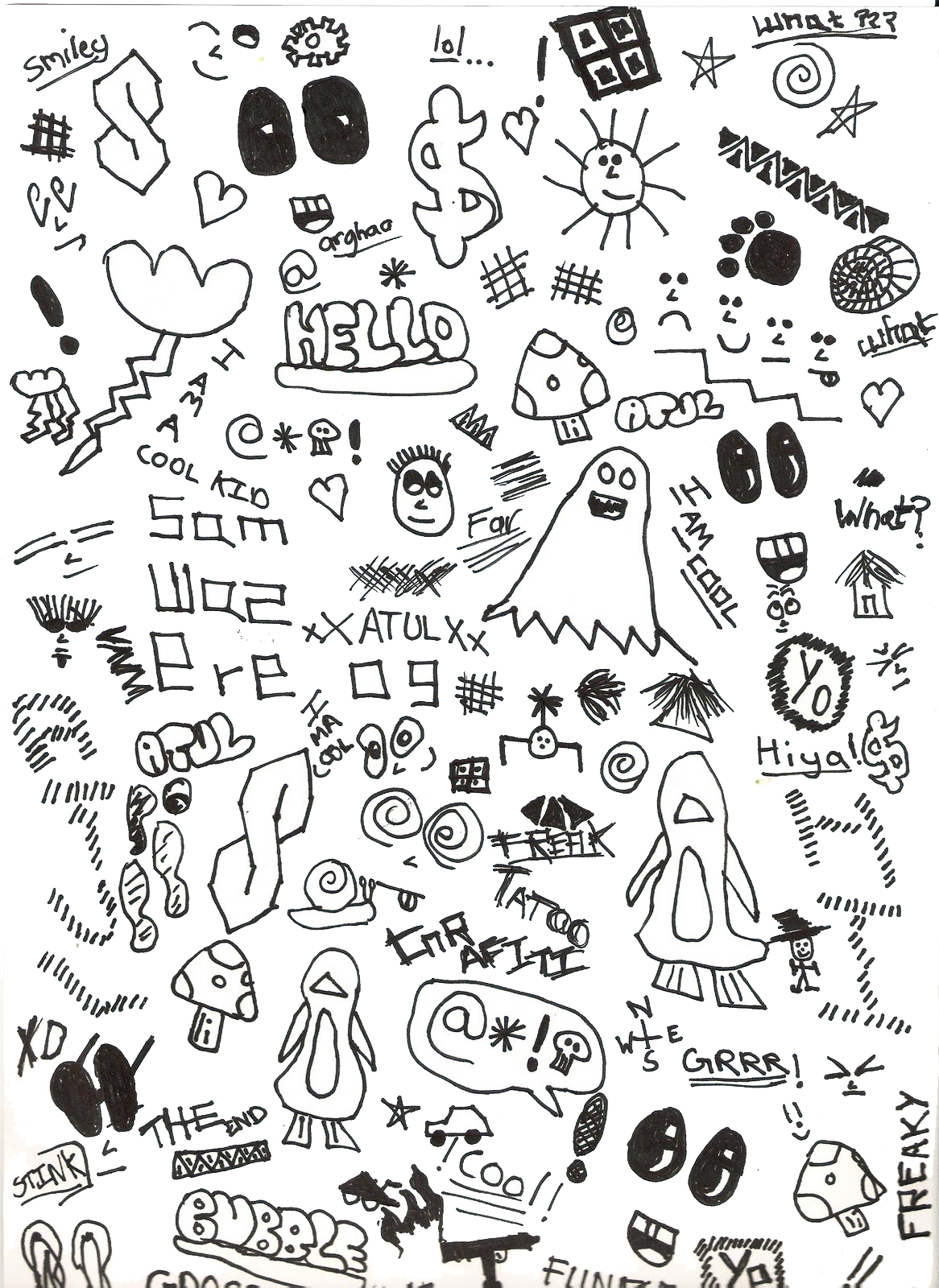 Drawing candy collage. Doodle art a png