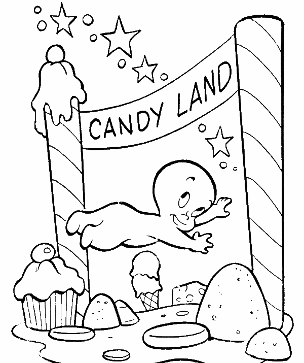Casper drawing coloring page. Goes to candy land
