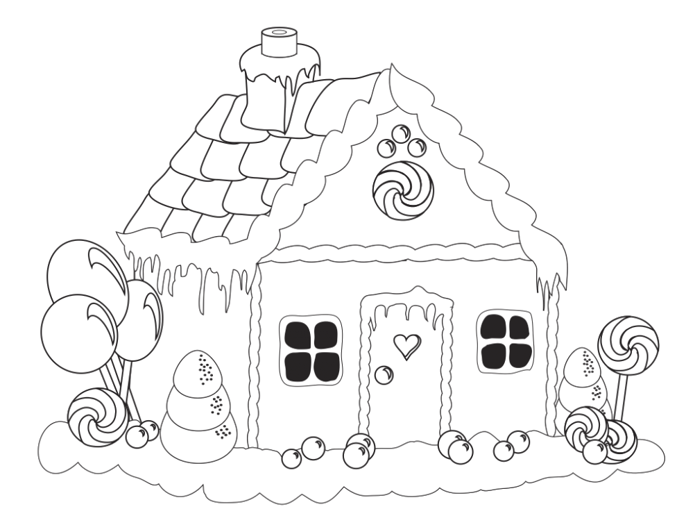 Drawing candy coloring. Pages for gingerbread house