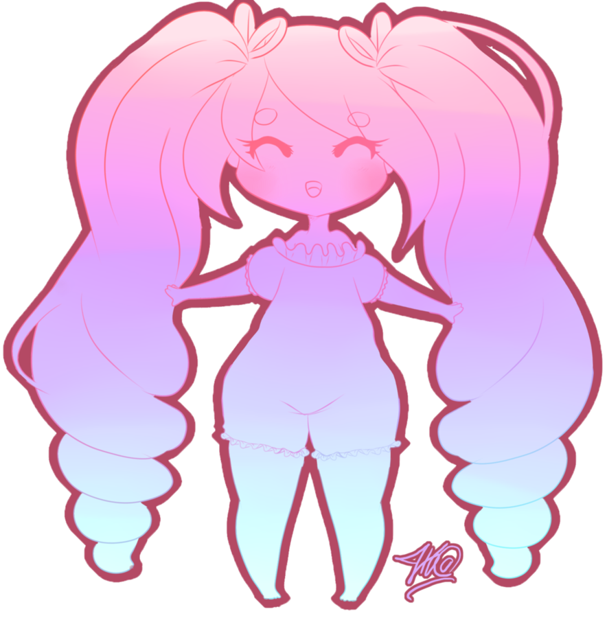 Drawing candy cotton. Cutie chibi flat color