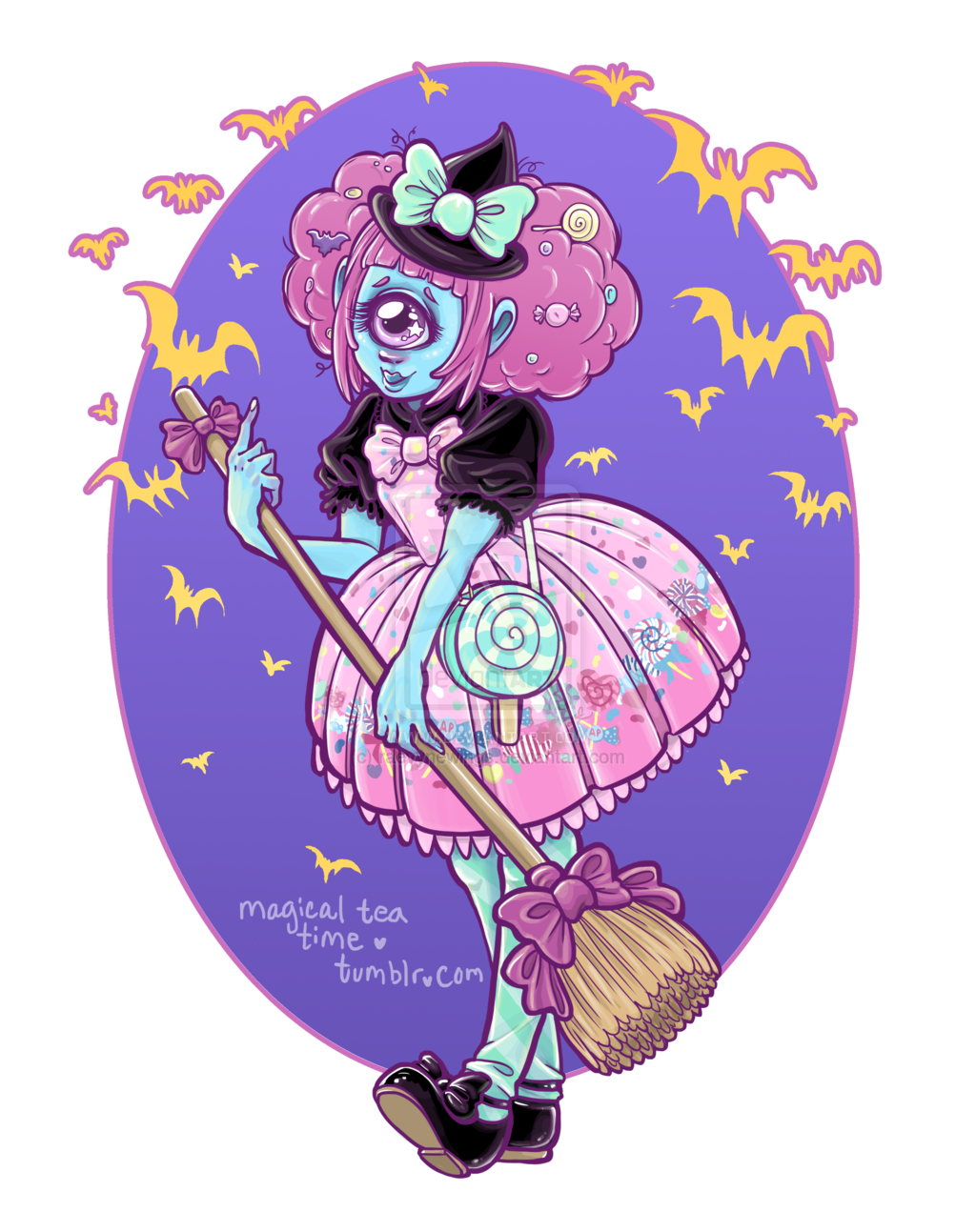 Drawing pastel scary. Candy treat by raevynewings