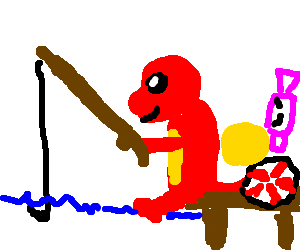 Drawing candy hard. Charmander fishing surrounded by