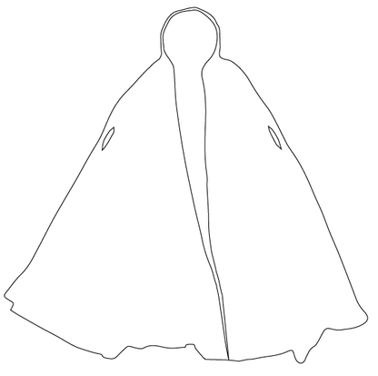 Drawing capes billowing cape. Reversible cloak half moon