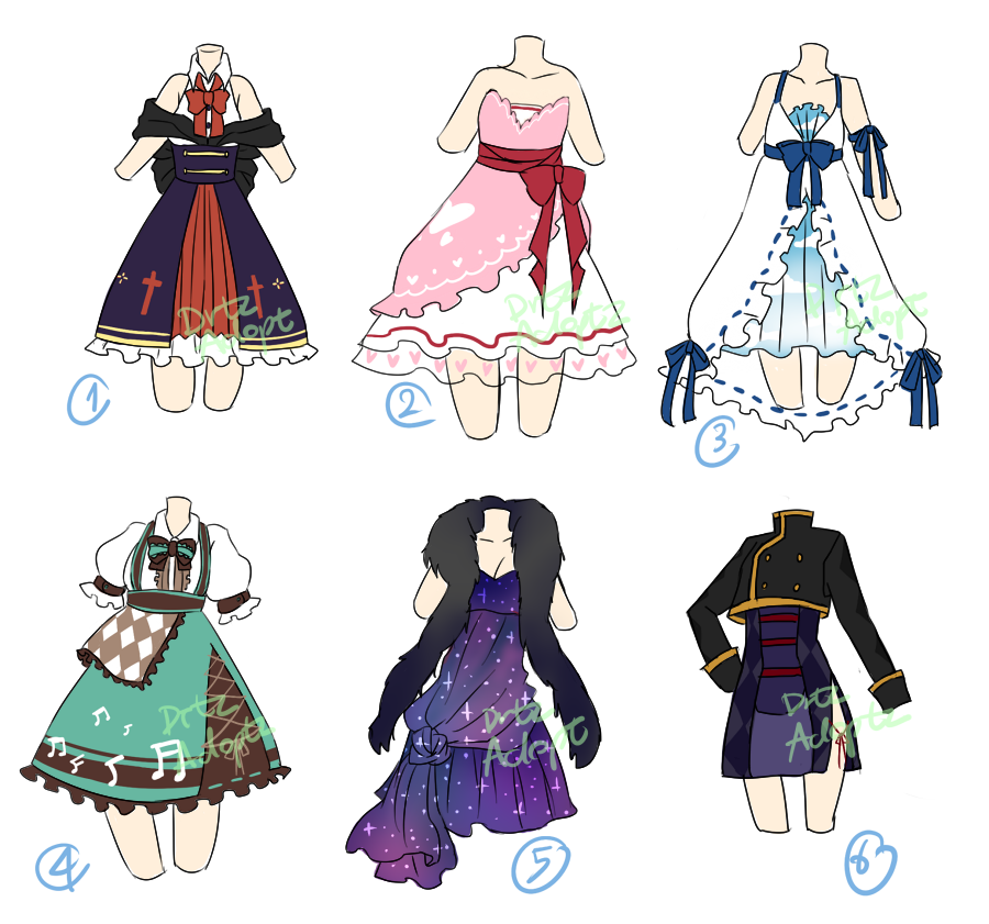 Drawing capes clothing reference. Adoptable random dresses open