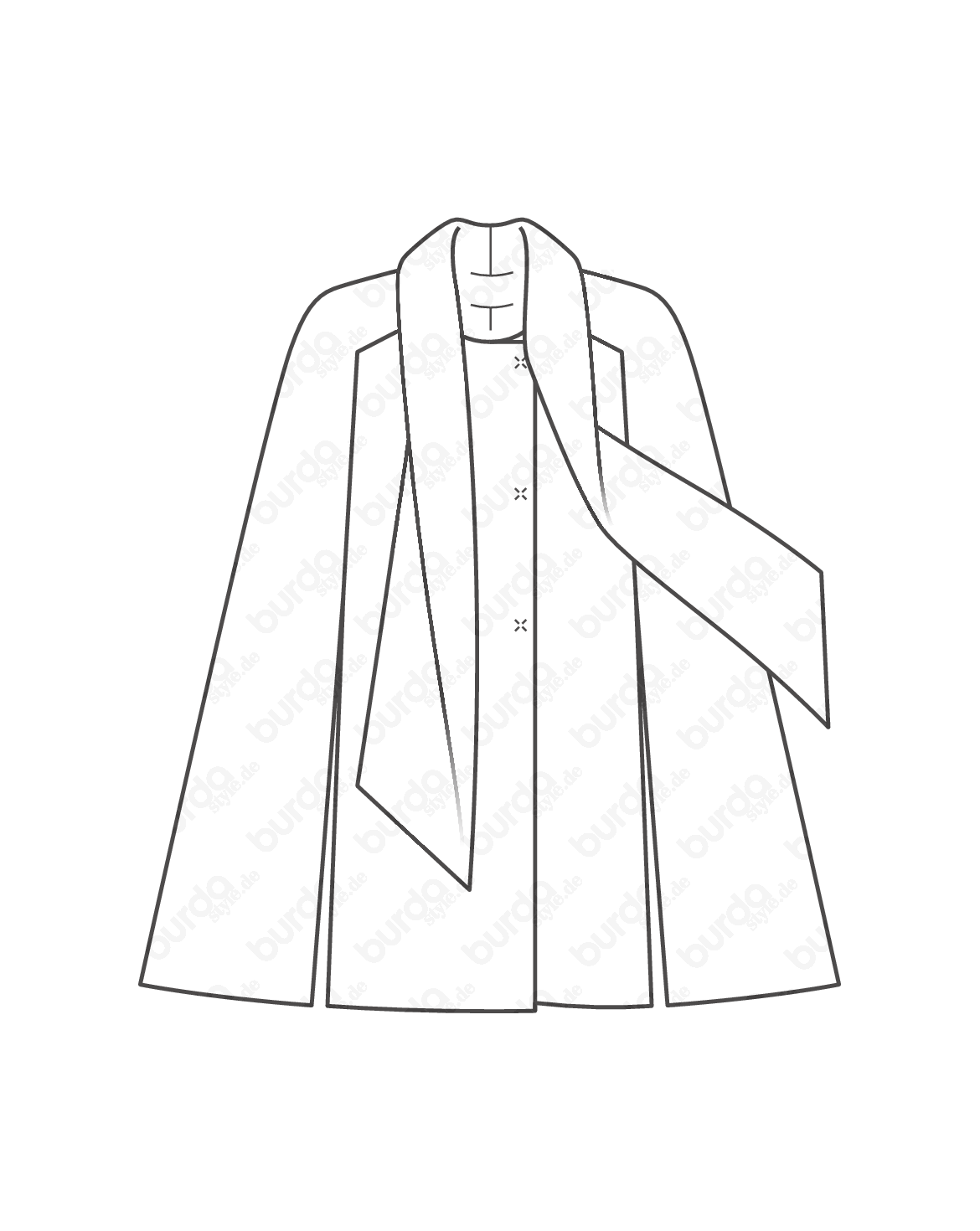 Drawing capes long. Schnittmuster cape mit schal