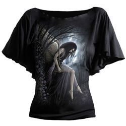 Drawing capes loose shirt. Womens gothic t shirts