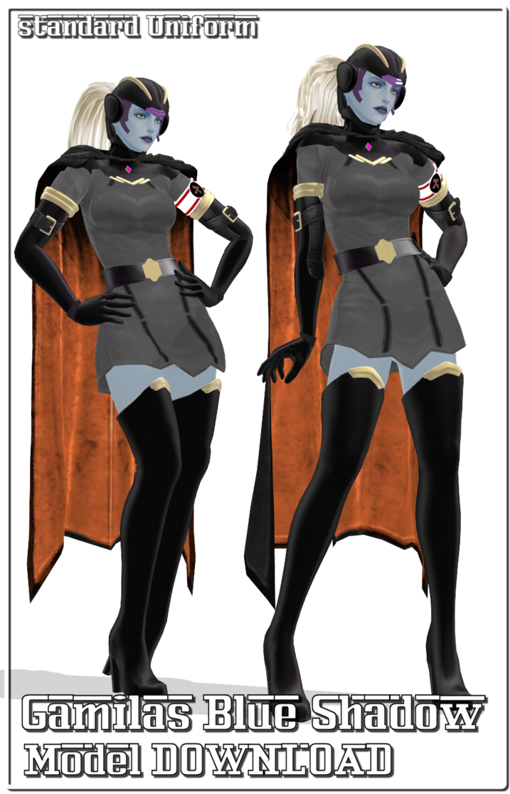 Drawing capes mmd. Blue shadow gamilas female