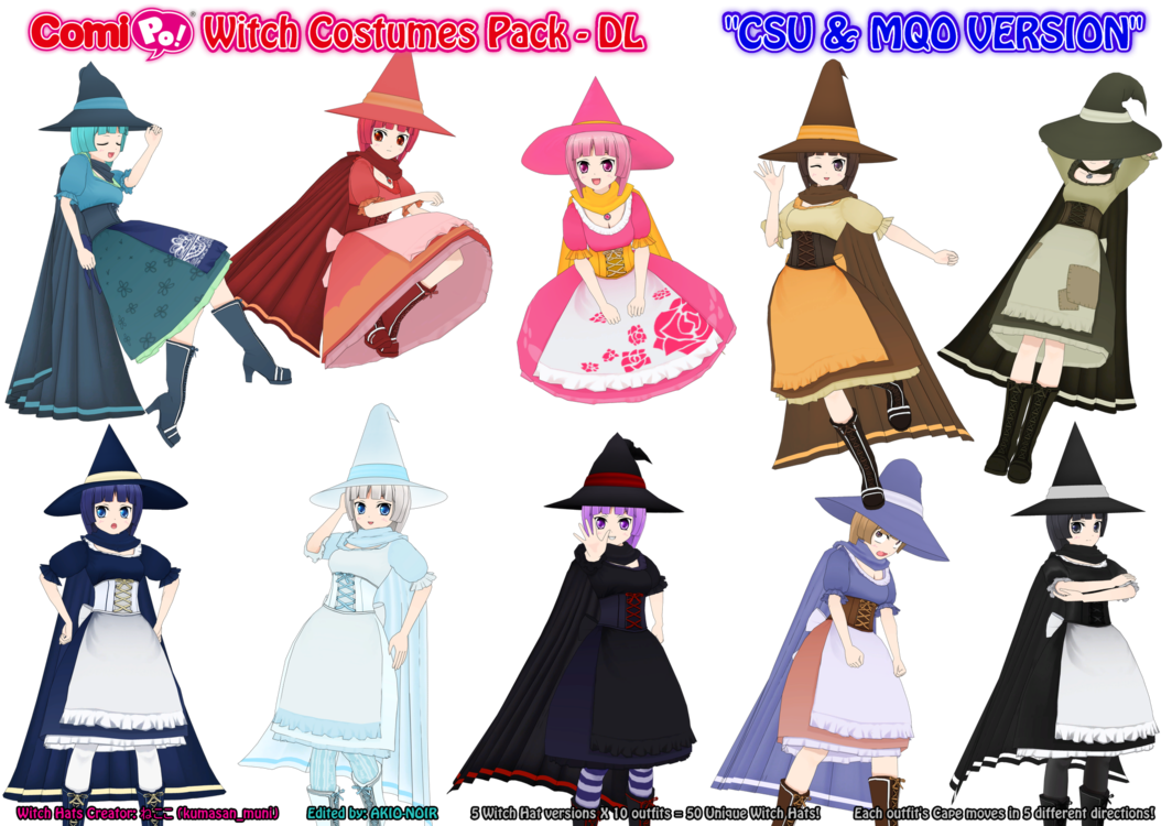 Drawing capes poses. Comipo witch costumes pack