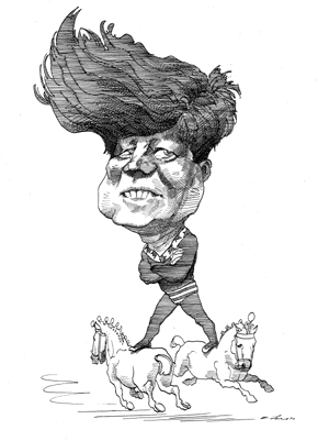 Drawing caracatures. John f kennedy caricatures