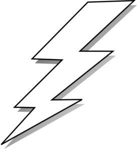 Lightning bolt clipart outline. Black and white clip