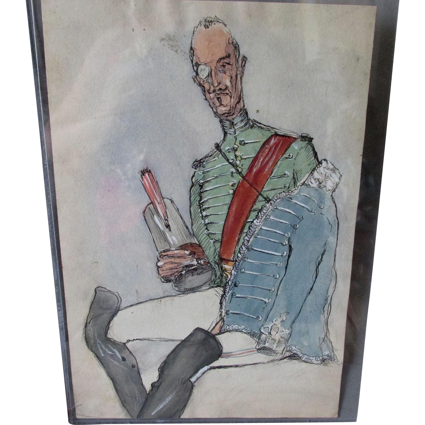 Drawing caracatures military. Original caricature watercolor painting