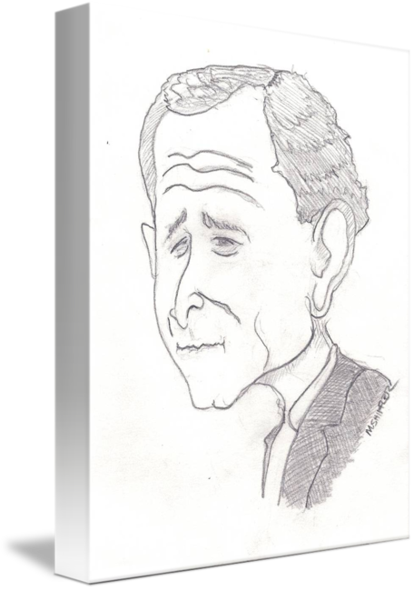 Drawing caracatures sketch. Caricature of george w
