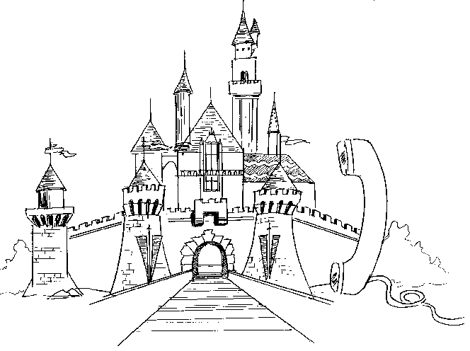 Drawing castle. Buildings and architecture printable
