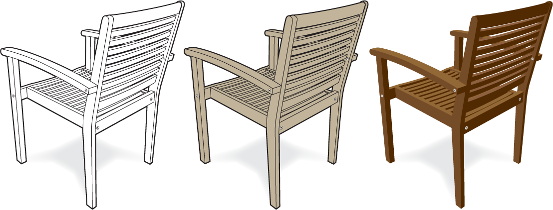 Drawing chairs realistic. Design strategies inc illustrations