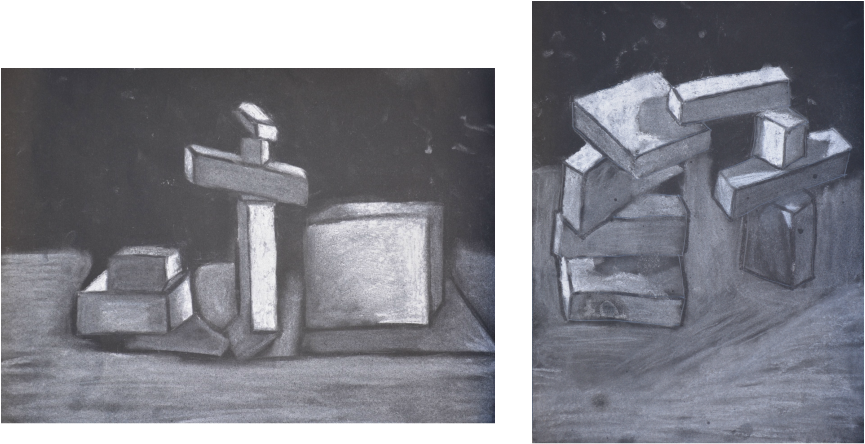 Drawing chalk still life. Home drawings by a