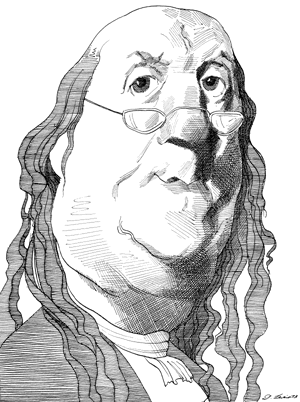 Drawing charactertures cross hatching. Benjamin franklin caricatures by
