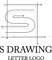 Drawing letter line. S building chart logo