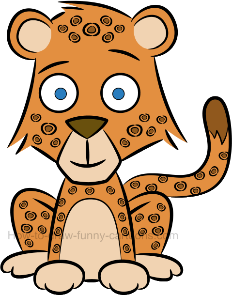 Drawing cheetah cute baby. How to draw a
