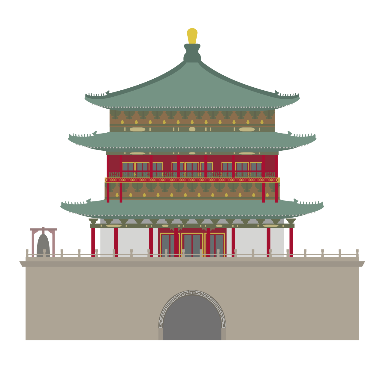 Drawing chinese architectural. Xi an illustration beautifully