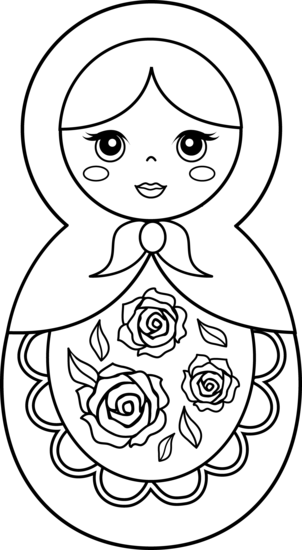 Russia drawing simple. Matryoshka doll patterns free