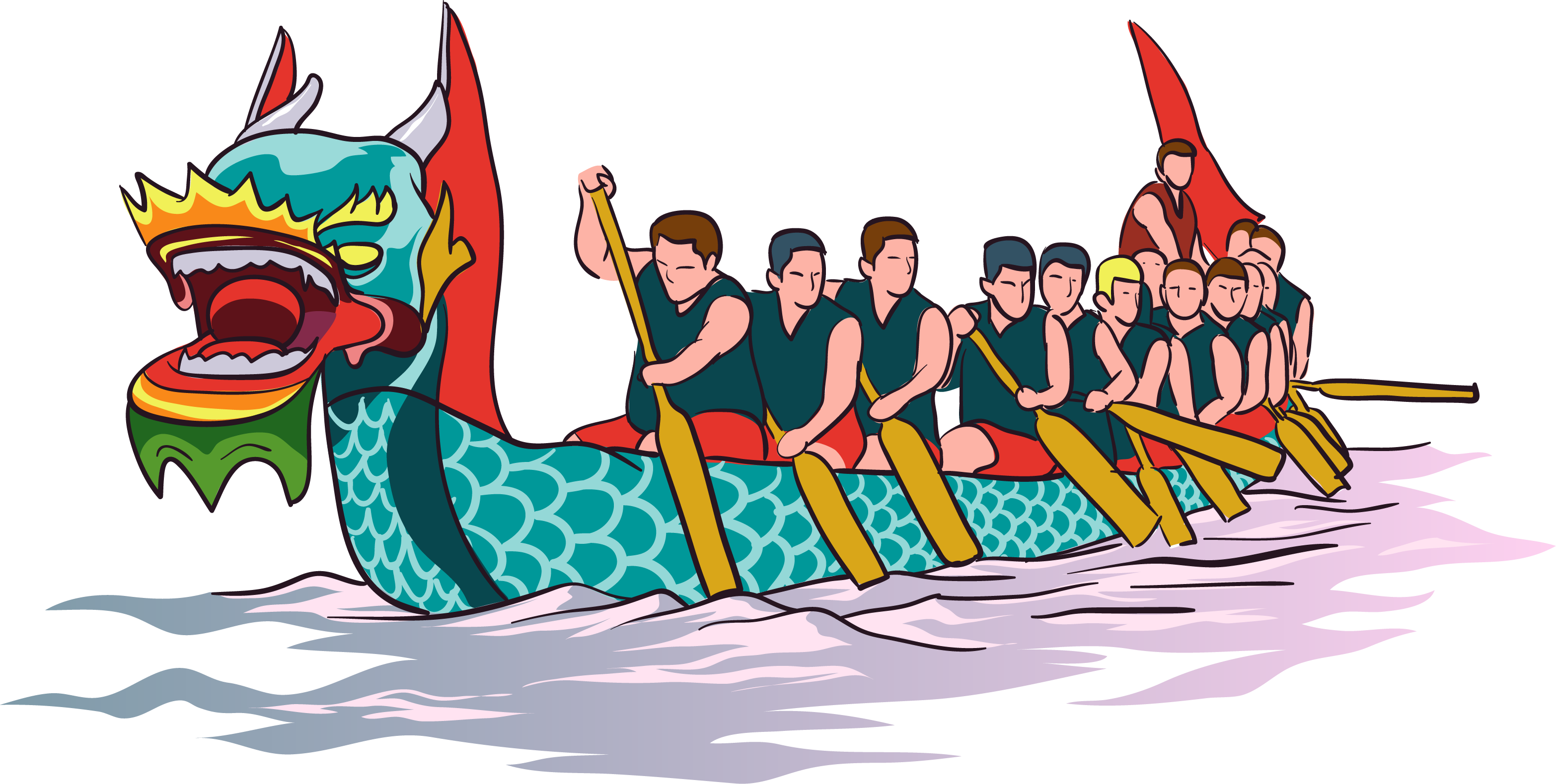 Drawing chinese dragon boat festival. Race clip art