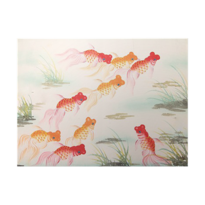 Drawing chinese goldfish. Painting poster pixers we