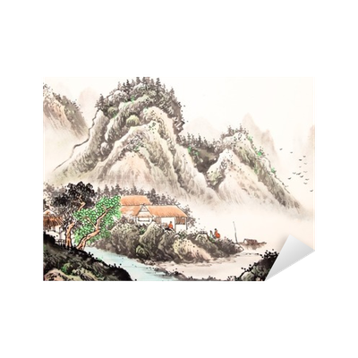 Drawing chinese landscape. Watercolor painting sticker pixers