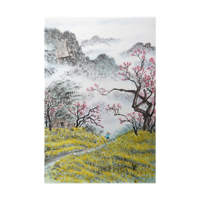 Drawing chinese landscape. Traditional painting poster pixers