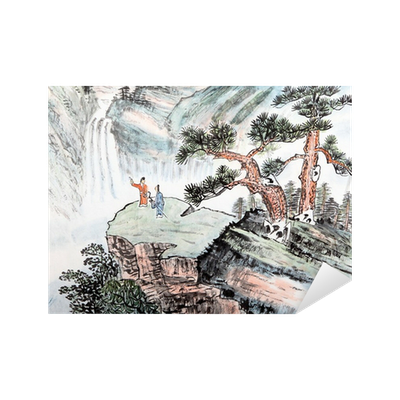 Drawing chinese landscape. Traditional painting sticker pixers