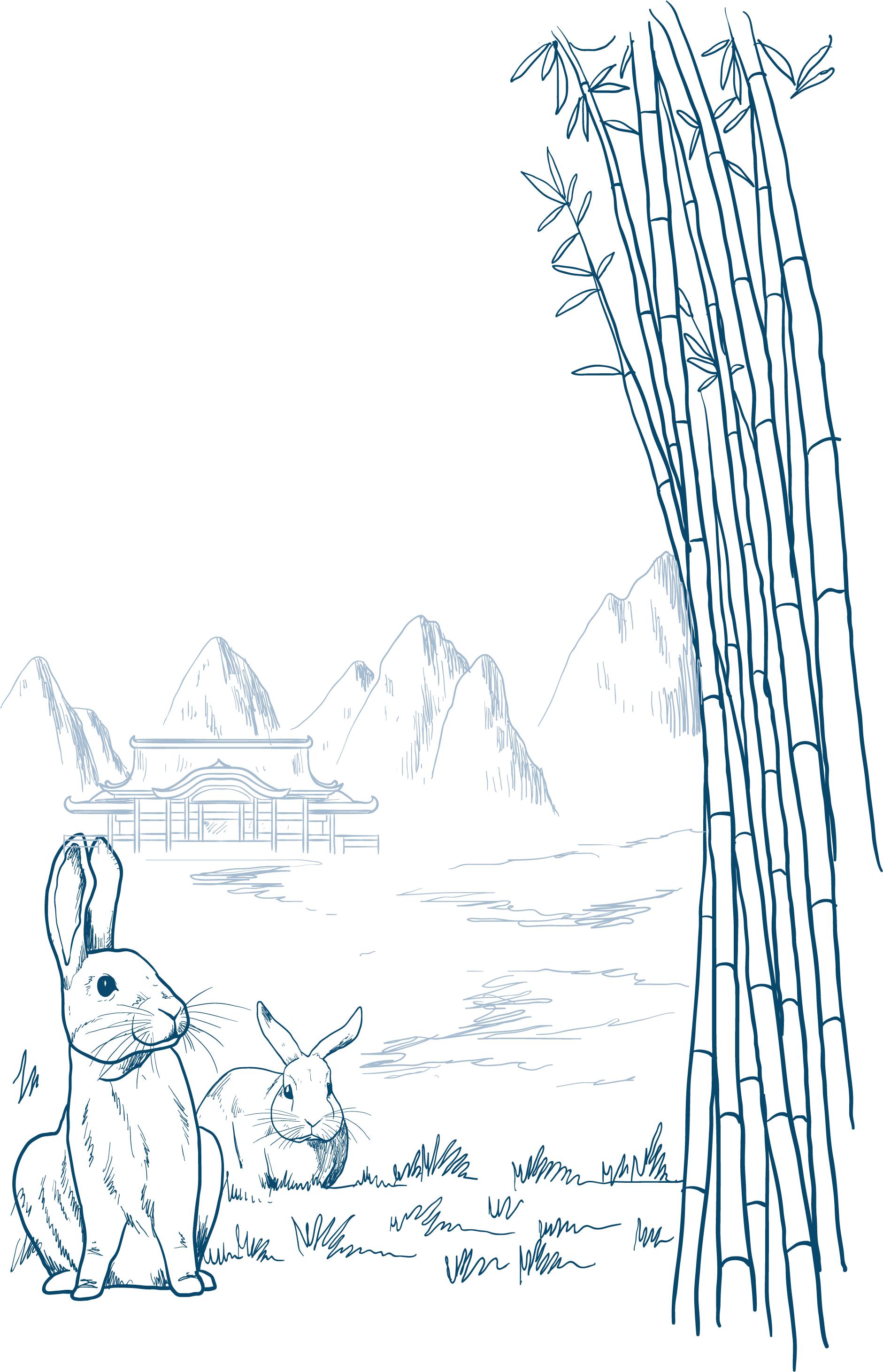 Drawing chinese moon festival. Rabbit mid autumn illustration
