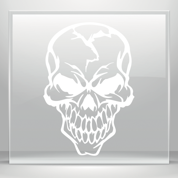 Xray drawing simple skull tattoo. Color vinyl hardcore decal