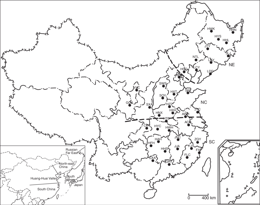 Drawing chinese valley. Geographical distribution of wild