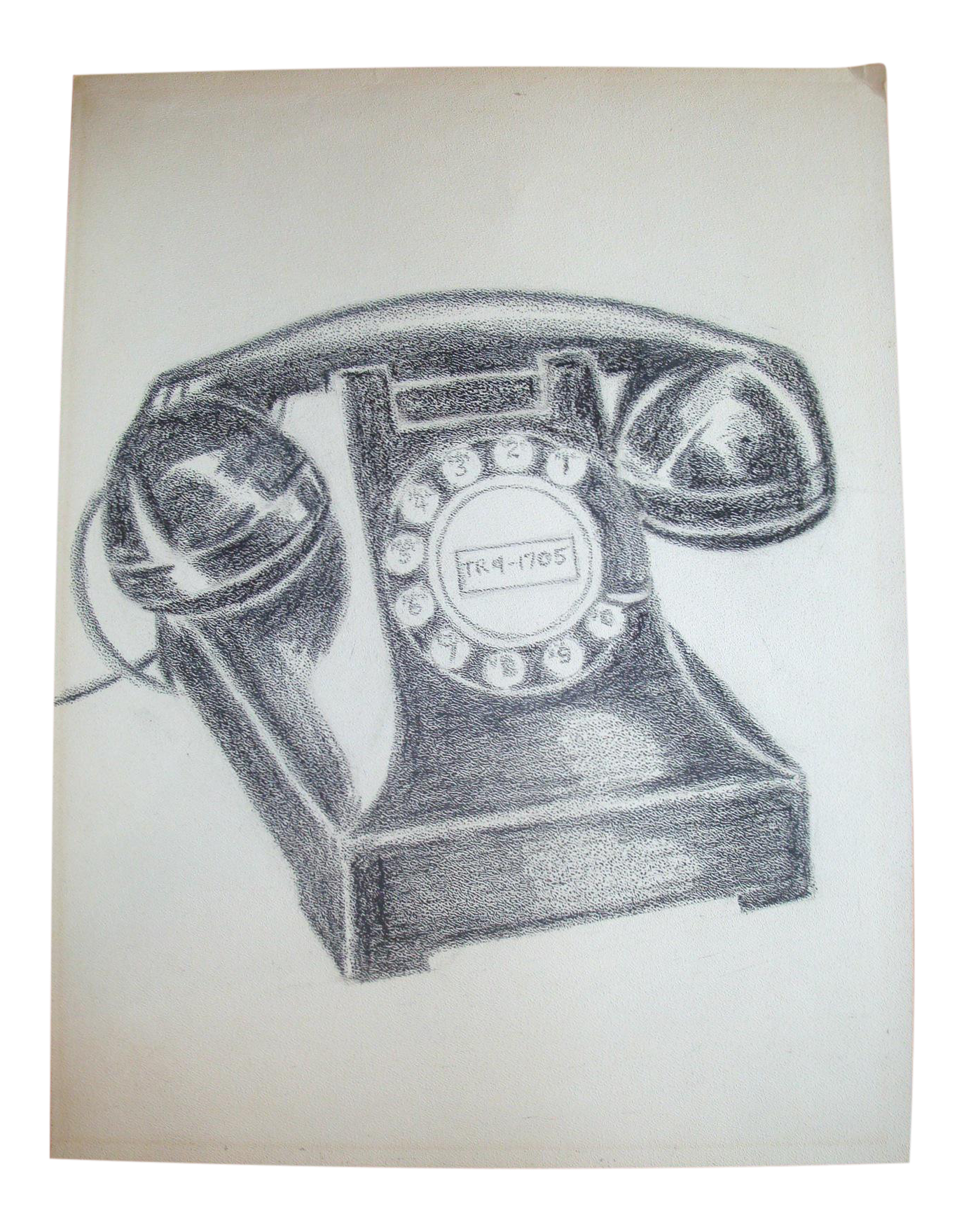 Drawing chrome charcoal. Vintage black bakelite telephone
