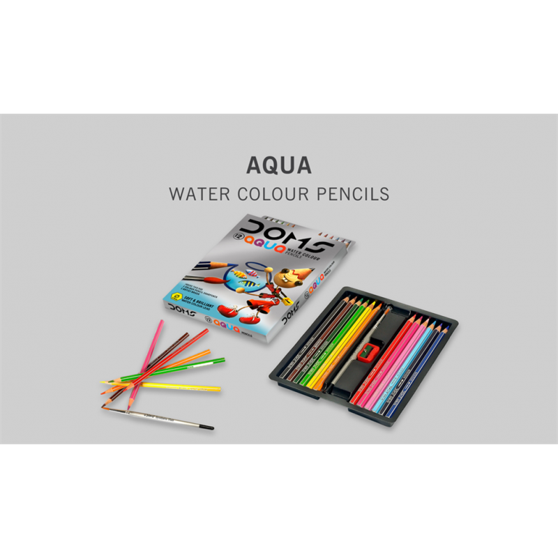 Drawing chrome colored pencil. Doms aqua water colour