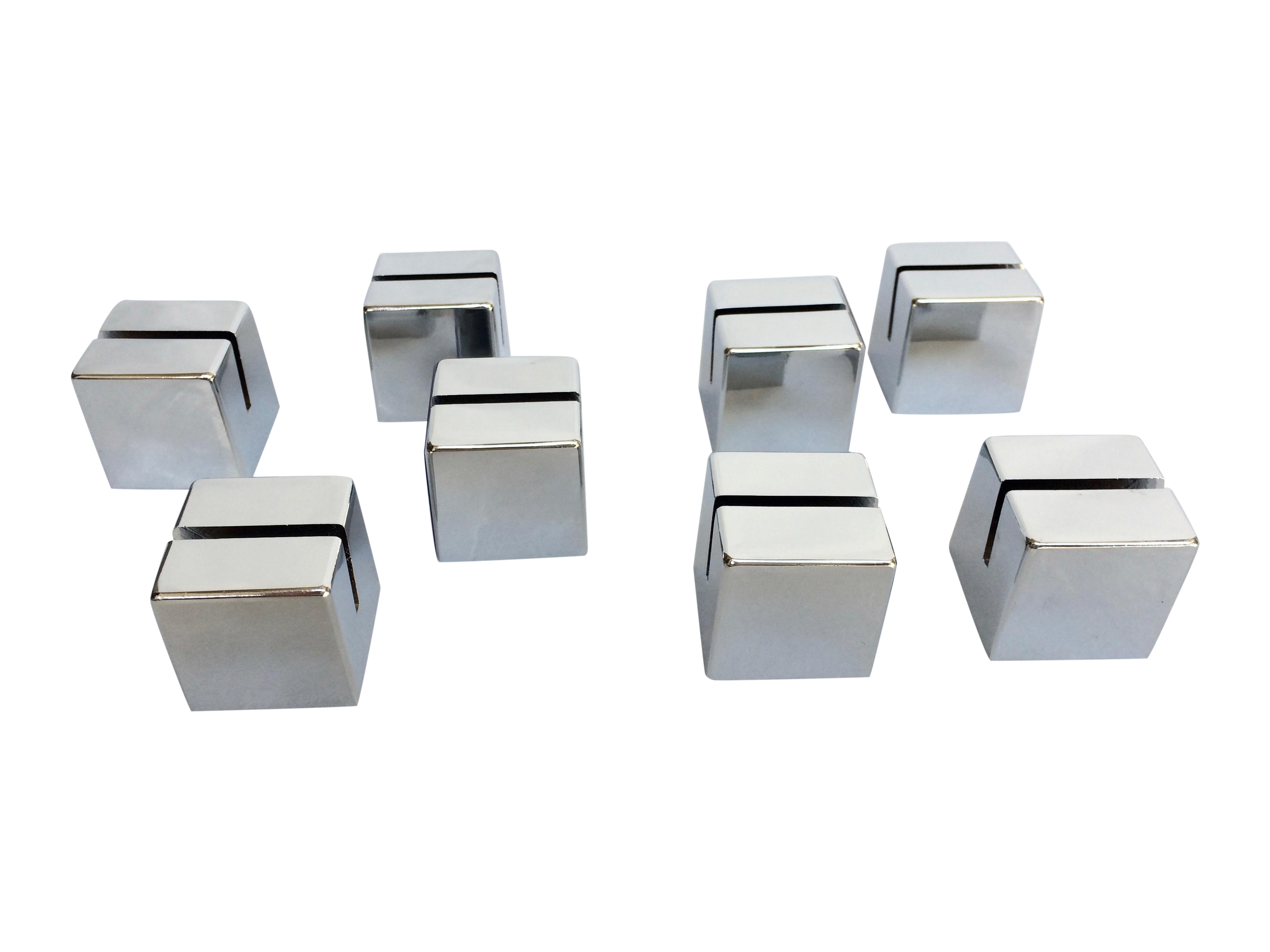 Drawing chrome cube. Place card holders set