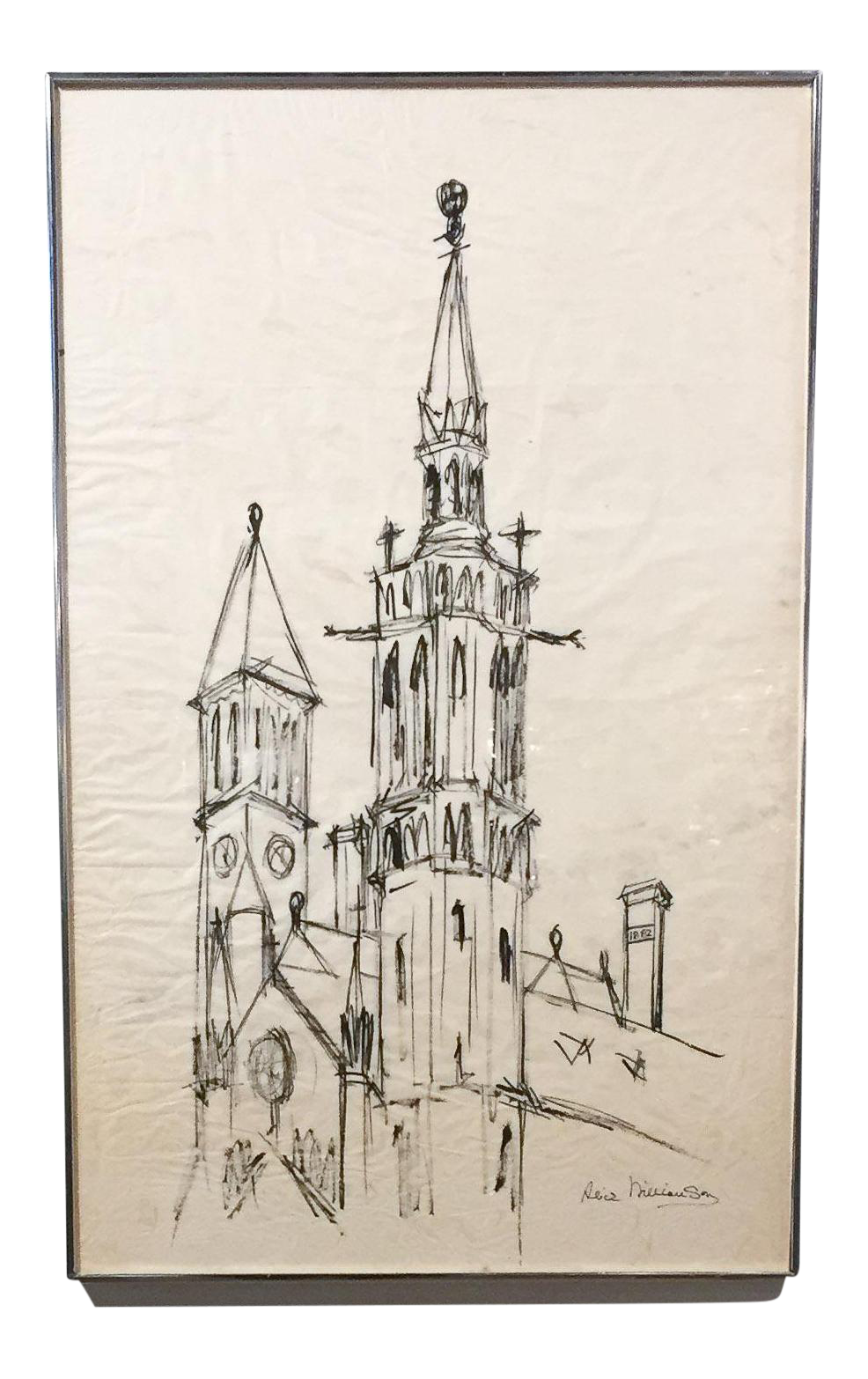 Drawing chrome ink. Large mid century church