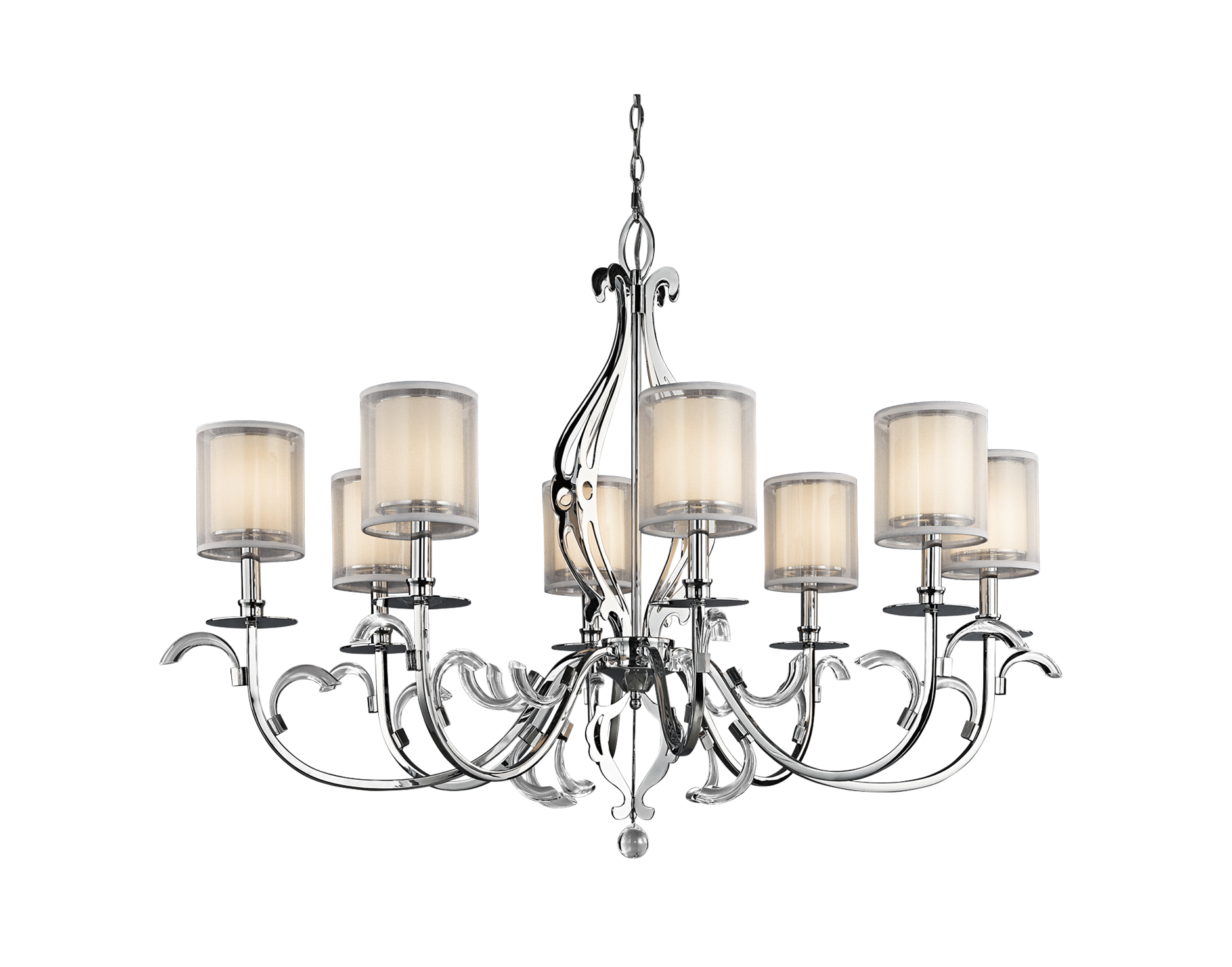 Lead drawing light shade. Tier chandelier with