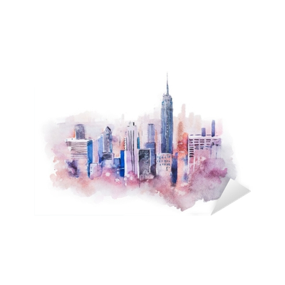 Drawing cityscape. Watercolor big city downtown