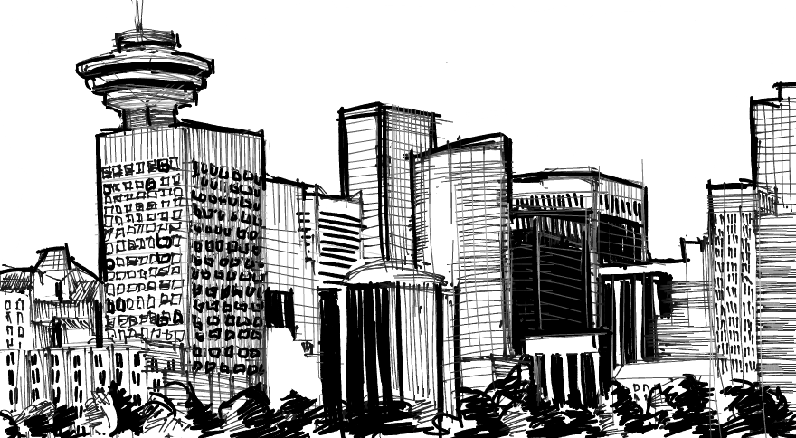Panorama drawing skyline vancouver. Doodle ly