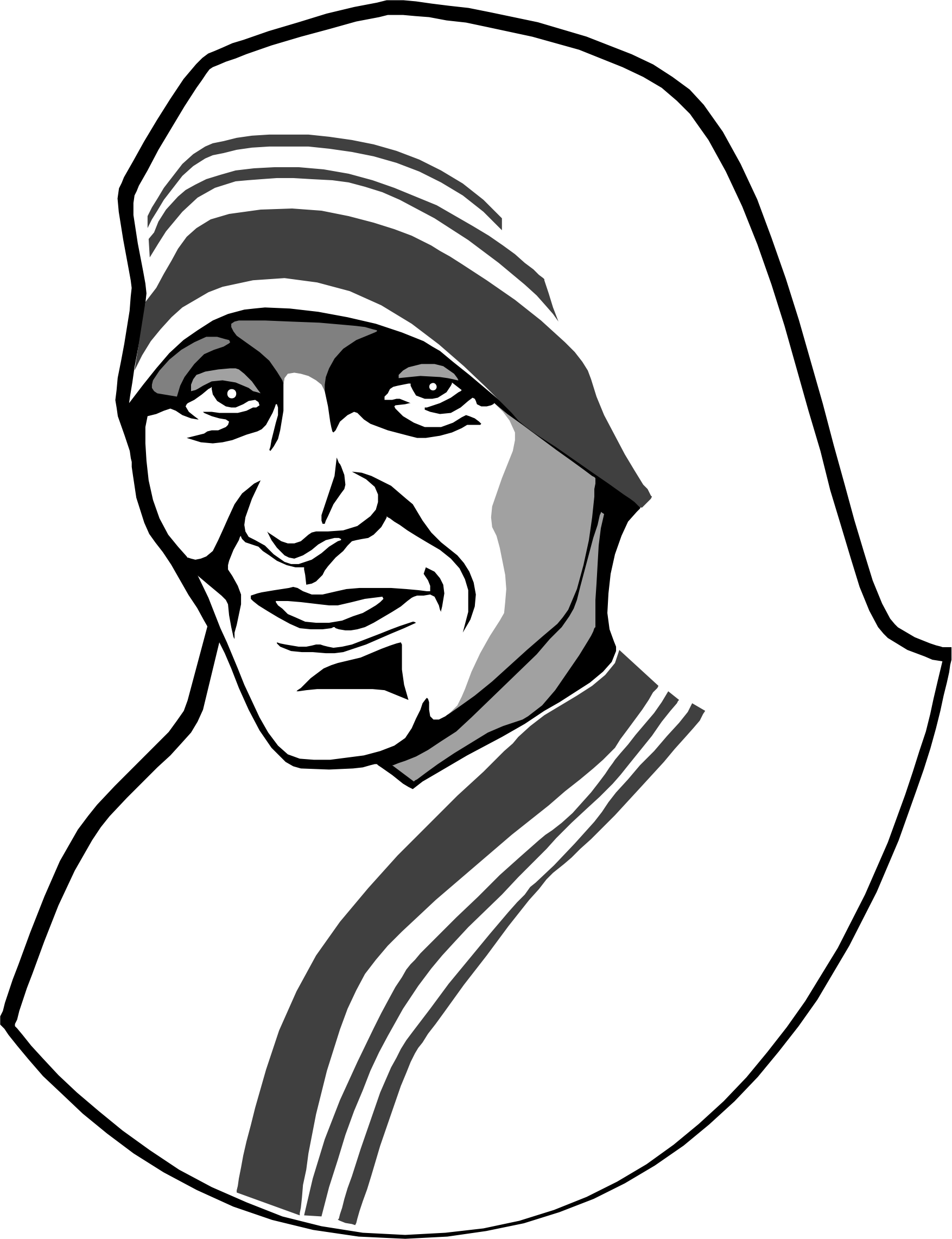 Portraits drawing line. Mother teresa clip art