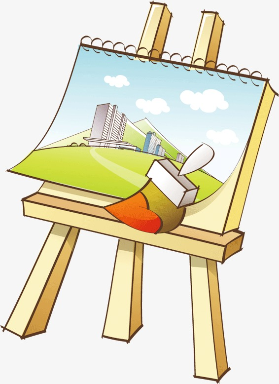Drawing clipart drawing board. Cartoon sketchpad brush png