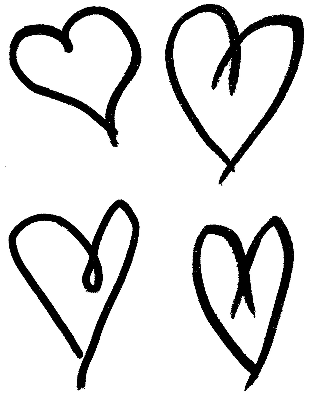 Drawing clipart heart. Digital stamp design printable
