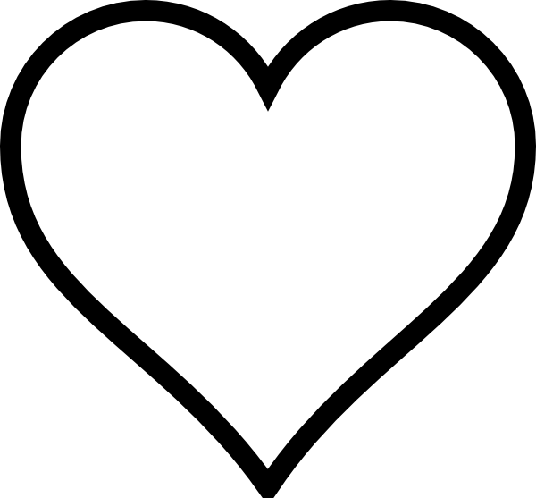 Drawing clipart heart. Stencil plain clip art